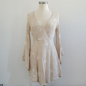 Cream embroidered free people dress